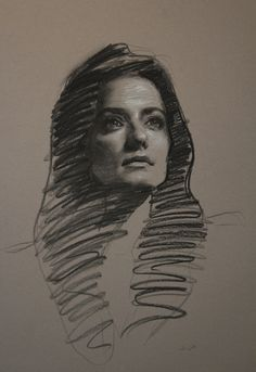 "Teresa Oaxaca ""Sarah"", 18x26"", charcoal and white chalk on Canson paper"