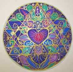 mandala art Wisdom of the Heart heart by HeavenOnEarthSilks, $45.00