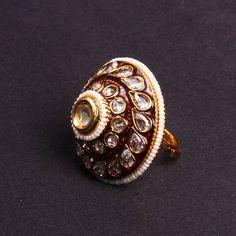 Finger Ring Maroon Minakari with white stone - WJ0078   Bridal Jewellery   Ring