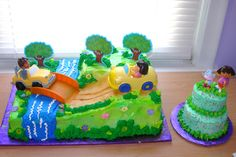 Dora & Diego Birthday Cake & Dora Smash Cake for Birthday Girl