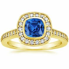 18K Yellow Gold Sapphire Fancy Bezel Halo Diamond Ring with Side Stones from Brilliant Earth