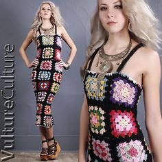 Exclusive-Black-Granny-Square-Afghan-Sheer-Crochet-Knit-Boho-Hippie-Dress-XS-S