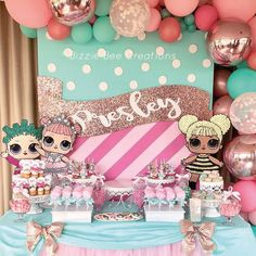 O tema mais queridinho do ano - LOL Surprise Dolls Candy Dessert Table by Thank you for your super cute LOL Surprise Doll Cookies and for your wood cuts. And Gabby for the beautiful balloon garland. Barbie Birthday Party, Doll Party, 6th Birthday Parties, Girl First Birthday, Surprise Birthday, Girls Party Decorations, Lol Dolls, Dessert Table, Party Ideas