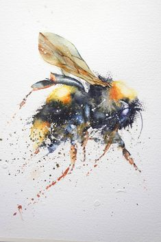 Watercolor Bird, Watercolor Animals, Watercolor Paintings, Paintings Of Birds, Bee Painting, Painting & Drawing, Painting Tips, Bee Illustration, Insect Art