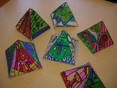 Romero Britto and the Pyramid Project - math and art - egyption symbols - warm and cool colors
