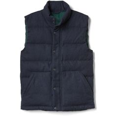 Gap Men Coldcontrol Max Wool Blend Puffer Vest (295 AED) ❤ liked on Polyvore featuring men's fashion, men's clothing, men's outerwear, men's vests, navy heather, regular, old navy mens puffer vest, mens quilted vest, mens sleeveless vest and mens navy vest