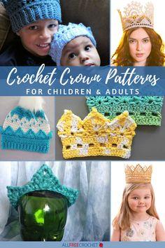 20 Crochet Crown Patterns Crochet Crown Pattern, Crochet Baby Hat Patterns, Crochet Baby Hats, All Free Crochet, Learn To Crochet, Queen, Pencil Pouch, Knitting, Children