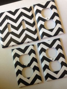 Black and White chevron striped double light switch plate and 3 outlet covers
