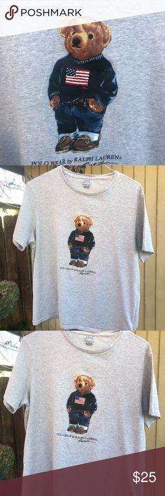 c00d5683591 Polo Bear T Shirt- by Ralph Lauren. XL men s Heather gray Bear polo T