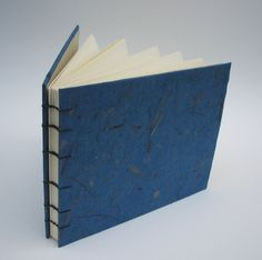Sapphire Blue Guest Book - Coptic Stitch Binding with Banana Paper Cover, Made to Order