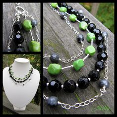 Onyx, Larvikite and Green Turquoise Necklace by Milla's Place, via Flickr