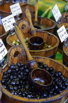 Black and green olives at Barnstaple Market - Devonshire