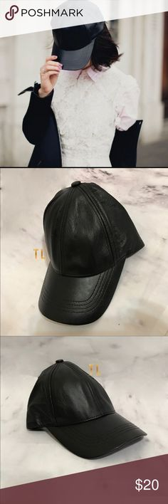Black genuine Leather baseball cap •brand new no tags •ships tomorrow •brand :LF •no trades  •one size adjustable Velcro back •material black genuine leather  Made in USA Super popular - in instagram and Tumblr - LF Accessories Hats
