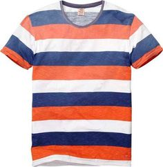 Scotch & Soda Multicolor Short Sleeve Printed Stripe Tee Shirt