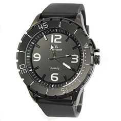MapofBeauty Modisch und Stilvoll Einfach Analoges Quarzwerk Uhren Schwarz Kautschuk Uhrenarmband Herren Armbanduhr (Schwarz Band/Schwarz Wählen) - http://uhr.haus/mapofbeauty/mapofbeauty-modisch-und-stilvoll-einfach-uhren-3