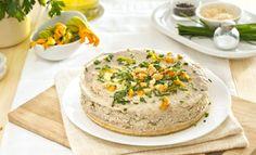 Cheesecake salato al sedano, fiori di zucca e gorgonzola