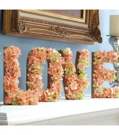 Floral Home Decor Project | Love Sign for your Mantel, Wall, etc. | Click through for full directions | Supplies available at Joann.com or your local Jo-Ann Fabric and Craft Store.