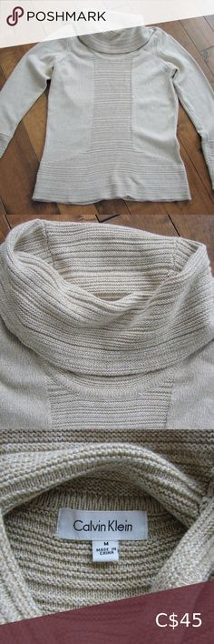 """Calvin Klein Beige White Cowlneck Sweater ~ Medium Calvin Klein Beige White Cowlneck Sweater ~ Size Medium ~ 60% Cotton, 40% Acrylic ~ Armpit to armpit 20"""" ~ Length 25"""" This lightweight sweater is super soft. It features a beige and white knit with a large loose cowlneck and textured ribbing along the front, the cowlneck, hem and cuffs. It's a longer sweater which is perfect to wear over leggings or jeans. You'll love it!!! Excellent condition ~ no rips, tears, holes or stains Calvin Klein… Comfy Sweater, Plus Fashion, Fashion Tips, Fashion Trends, Turtlenecks, Cowl Neck, Looks Great, Oatmeal, Calvin Klein"""