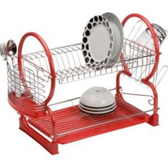 Buy Living 2 Tier Dish Rack - Red at Argos.co.uk - Your Online Shop for Dish racks and mats. £14.99