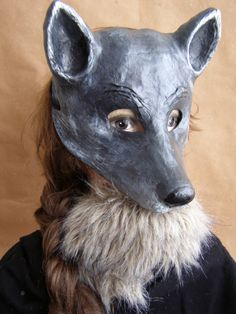 Animal mask paper mache mask  Wolf  mask Wolf by EpicFantasy                                                                                                                                                                                 More