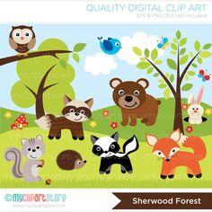 Woodland / Sheerwood Forest Animals Clip Art / Digital Clipart - Instant Download