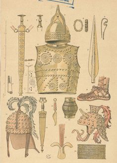 Bronze Age weapons and gear from Gaul/France region. Viking Symbols, Viking Runes, Ancient Symbols, Mayan Symbols, Egyptian Symbols, Ancient Armor, Medieval Armor, French History, American History