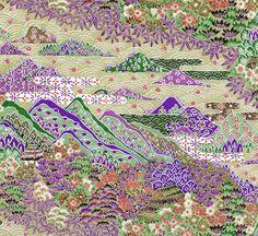 Japanese Yuzen Chiyogami Washi Paper Purple Tan Landscape. $2.25, via Etsy.