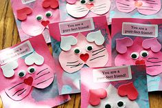 Purr-fect Kitty Valentine's Day Cards. Great for children to give to other children!