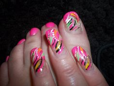 hot pink,hot green,yellow and black