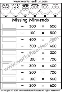 Subtraction – Missing Minuends – One Worksheet