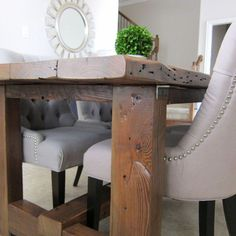 Make a budget-friendly DIY dining table using reclaimed wood.