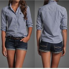 Denim button up with dark jean shorts. I think this style is very cute. granted those shorts should be longer....