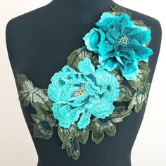Very on trend for spring fashion. effect with tiered petals. Two tone teal flowers in asymmetrical shape gives way Applique Fabric, Flower Applique, Floppy Sun Hats, Teal Flowers, Embroidered Jeans, Fabric Shop, Teal Green, Black Mesh, Black Fabric