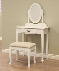 Awesome White Vanity Table Set