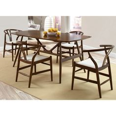 Lugano Mid-Century Artistic Dining Set brings a warm splash of style to your dining area. The artistic design and durable construction infuse the set with comfort and function.