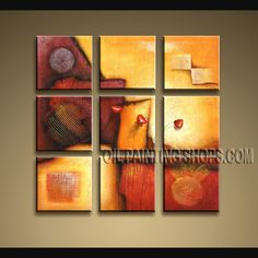 Large Modern Textured Painted Wall Art Hand-Painted Art Paintings For Bath Room Abstract. This 9 panels canvas wall art is hand painted by Bo Yi Art Studio, instock - $145. To see more, visit OilPaintingShops.com