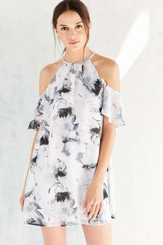 Kimchi Blue Cold Shoulder Ruffle Swing Dress I love this sm