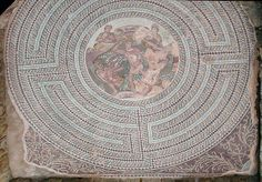 Labyrinth with the struggle of Theseus and the Minotaur surrounded by Ariadne and the personifications of Crete and the God-labyrinth (3rd cent. a.D.) In a roman official residence (of a proconsul?) - Paphos, Cyprus
