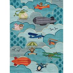 Momeni 'Lil Mo Aviator' Blue Rug | Overstock.com Shopping - Great Deals on Momeni 5x8 - 6x9 Rugs