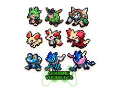 ITEM DETAILS: These are 100% handmade Pokémon Sprites. They are made out of plastic beads that have been fused together. These Pokémon sprites are available individually or in sets of 3. Shiny versions of these sprites are also available.  EXTRAS: These specific sprites have many finishes available for no added charge. You can make them into pins, magnets, key chains, Christmas ornaments, or necklaces (Short 16 in.) (Medium 24in.) (Long 36 in.). If you don't want a finish then that's okay…