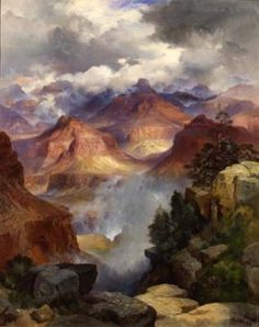 """""""Grand Canyon""""   ~   Thomas Moran (1837 - 1926) from Bolton, England was an American painter and printmaker of the Hudson River School in New York. A talented illustrator and exquisite colorist, Moran was hired as an illustrator at Scribner's Monthly. During the late 1860's, he was appointed the chief illustrator of the magazine which would prove to be a unique position with which he could launch his career as one of the premier painters of the American landscape."""