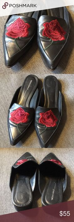 Intentionally Blank Embroidered Rose Loafers 🌹🌹 Intentionally Blank Embroidered Rose Loafers purchased at LF. Size 38. Black leather shoes with red, burgundy and dark green rose embroidery on the top. Slight creasing (see photos) GREAT used condition. LF Shoes Flats & Loafers