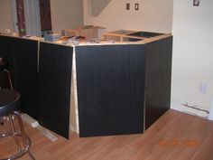 Ebony stain over pine for kitchen cupboards