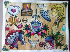 Zelda tattoo designs by Aaliy Rose Flash Tats, Tattoo Flash, Gamer Tattoos, Cool Tattoos, Tatoos, Legend Of Zelda Tattoos, Gaming Tattoo, Nintendo Tattoo, Tattoo Drawings