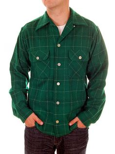 Vintage Mens Shirt Loop Collar Green Wool Plaid 1940s Size S Monterey Sportswear