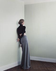 full length gray skirt
