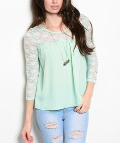 This Mint Lace-Yoke Scoop Neck Top is perfect! Dates, Scoop Neck, Mint, Tunic Tops, Blouse, Long Sleeve, Sleeves, Clothes, Women