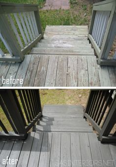 How to Stain a Wood Deck - Before and After Wood Deck Makeover