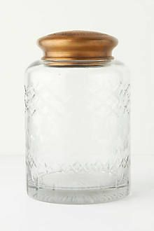 anthropologie cut glass canister