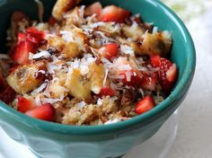 Breakfast Quinoa with strawberry, banana, nuts, and other mix-ins